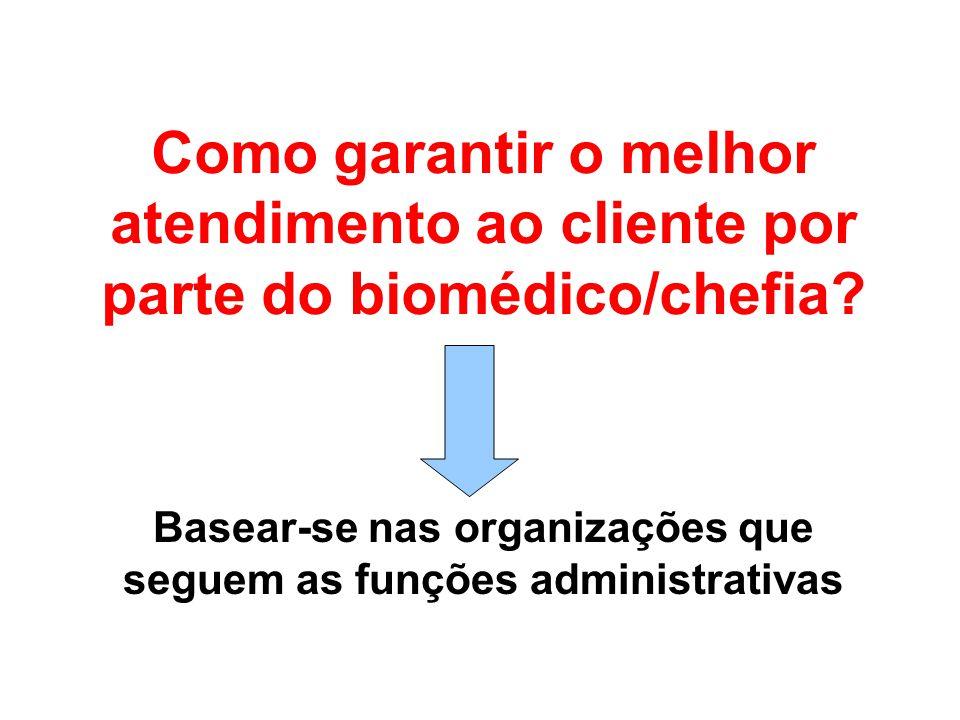 Como garantir o melhor atendimento ao cliente por parte do biomédico/chefia? Basear-se nas organizações que seguem as funções administrativas