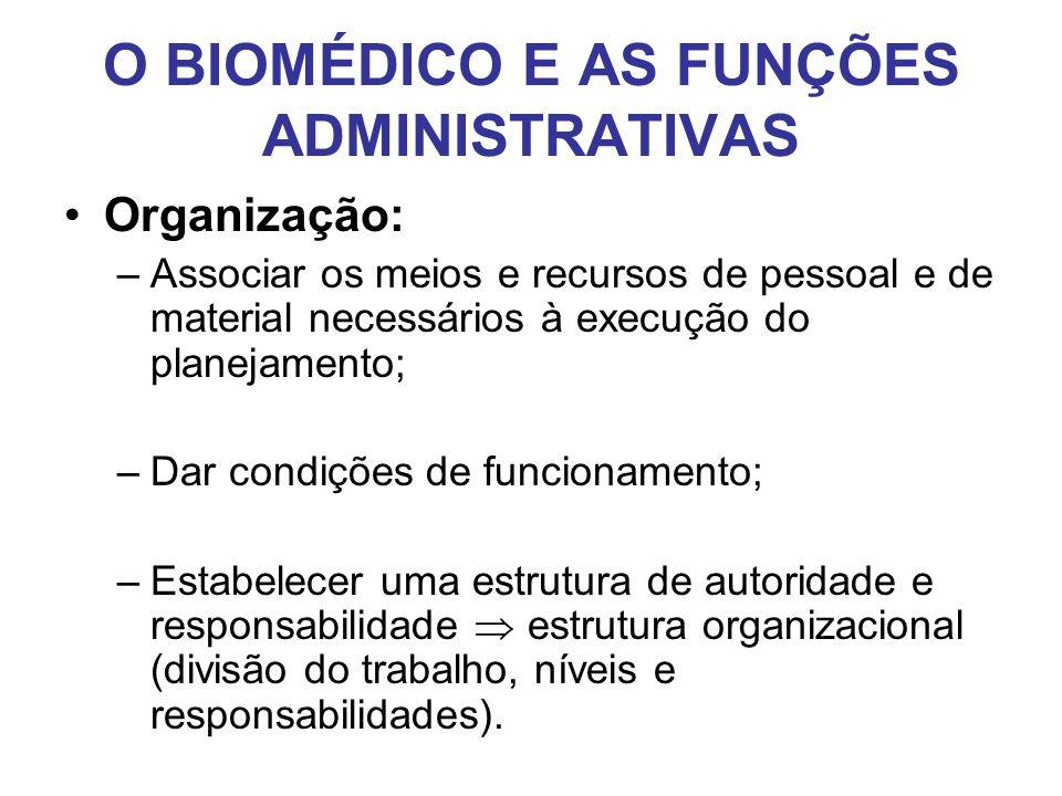 O BIOMÉDICO E AS FUNÇÕES ADMINISTRATIVAS •Organização: –Associar os meios e recursos de pessoal e de material necessários à execução do planejamento;