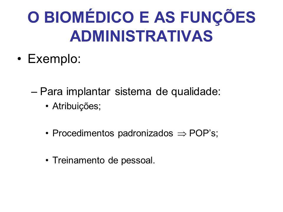 O BIOMÉDICO E AS FUNÇÕES ADMINISTRATIVAS •Exemplo: –Para implantar sistema de qualidade: •Atribuições; •Procedimentos padronizados  POP's; •Treinamen