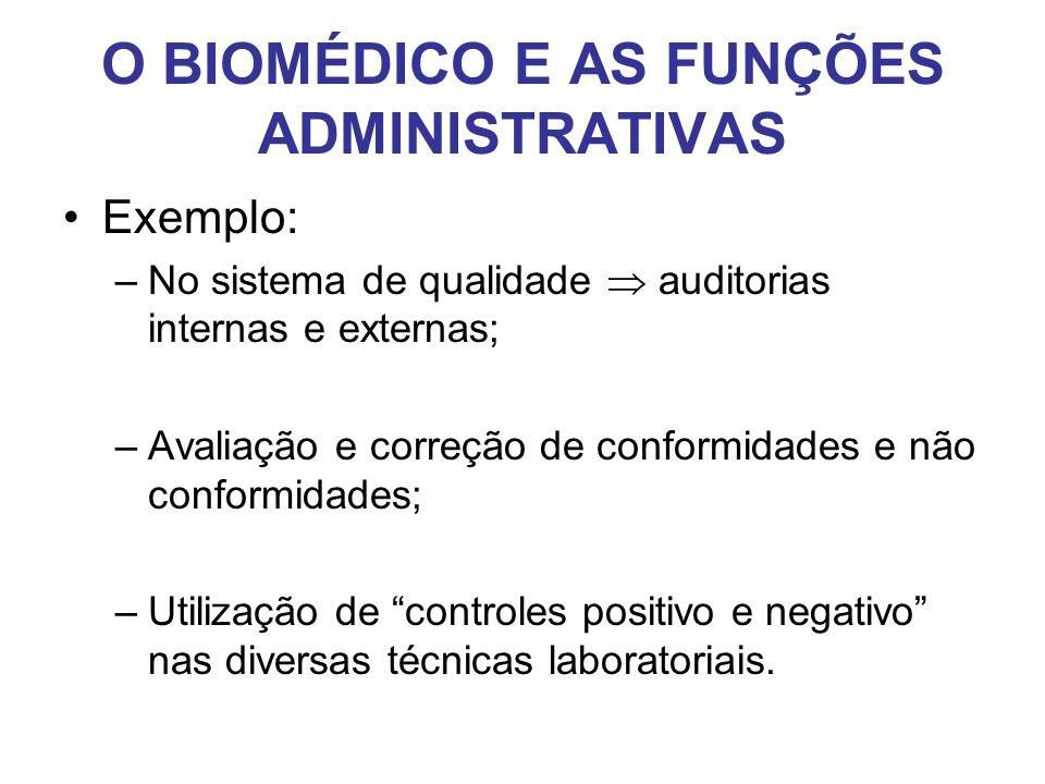 O BIOMÉDICO E AS FUNÇÕES ADMINISTRATIVAS •Exemplo: –No sistema de qualidade  auditorias internas e externas; –Avaliação e correção de conformidades e