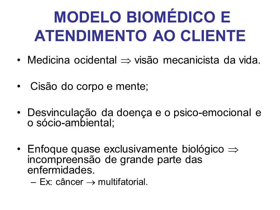 MODELO BIOMÉDICO E ATENDIMENTO AO CLIENTE •Medicina ocidental  visão mecanicista da vida. • Cisão do corpo e mente; •Desvinculação da doença e o psic