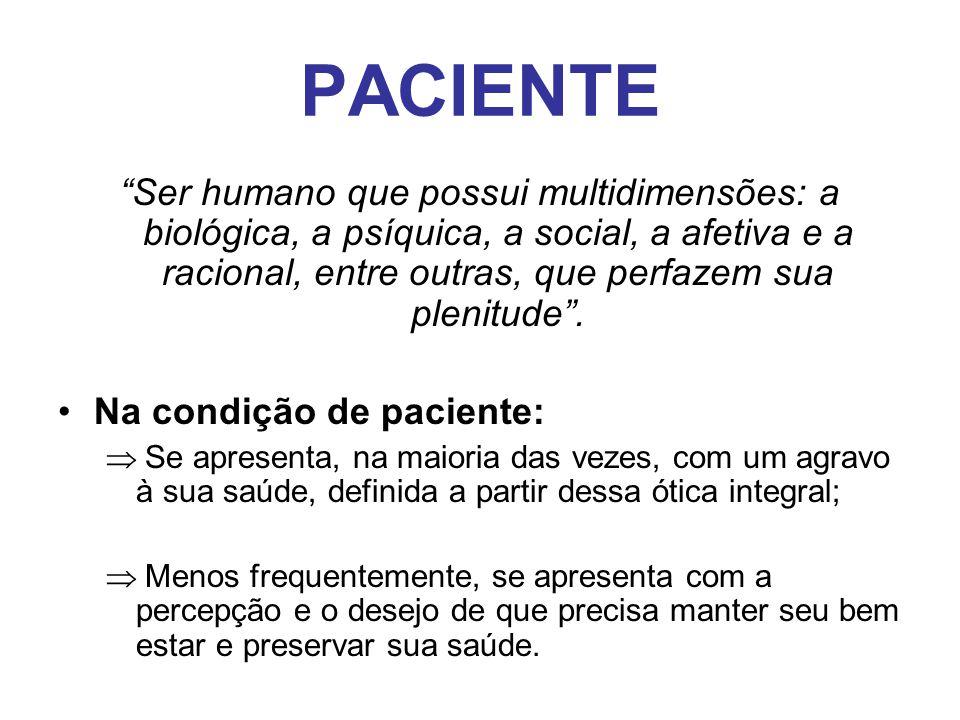 """PACIENTE """"Ser humano que possui multidimensões: a biológica, a psíquica, a social, a afetiva e a racional, entre outras, que perfazem sua plenitude""""."""