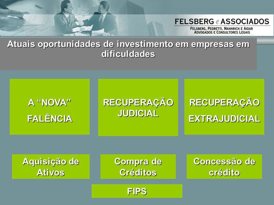 """Atuais oportunidades de investimento em empresas em dificuldades RECUPERAÇÃO JUDICIAL A """"NOVA"""" FALÊNCIARECUPERAÇÃOEXTRAJUDICIAL Aquisição de Ativos Co"""