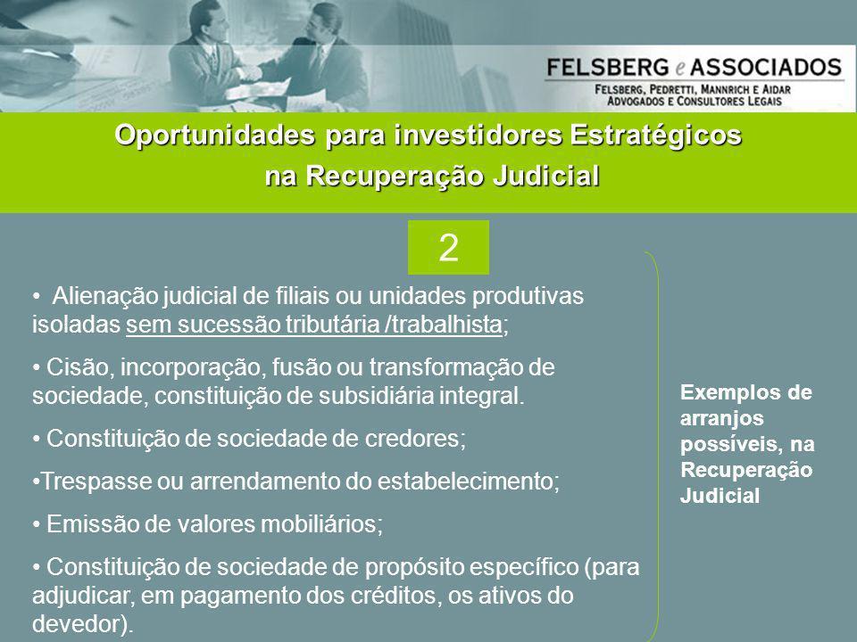 Oportunidades para investidores Estratégicos na Recuperação Judicial na Recuperação Judicial • Alienação judicial de filiais ou unidades produtivas is