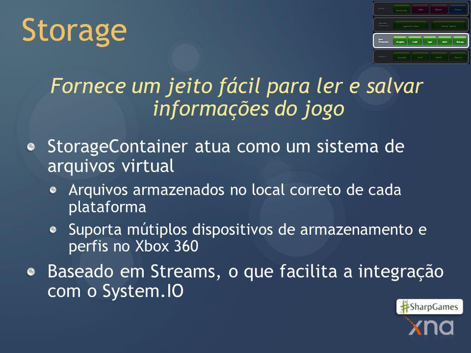 Storage Fornece um jeito fácil para ler e salvar informações do jogo StorageContainer atua como um sistema de arquivos virtual Arquivos armazenados no local correto de cada plataforma Suporta mútiplos dispositivos de armazenamento e perfis no Xbox 360 Baseado em Streams, o que facilita a integração com o System.IO Platform CoreFramework ExtendedFramework Games XACTXINPUTXContentDirect3D GraphicsAudioInputMathStorage Application Model Content Pipeline Starter Kits CodeContent Comps