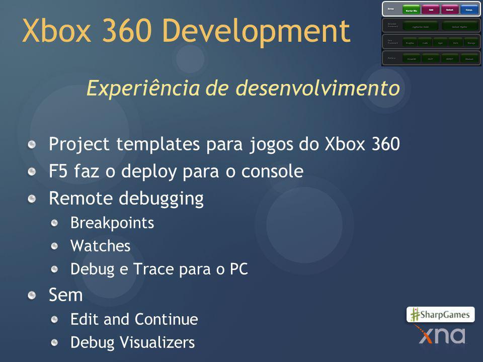 Xbox 360 Development Experiência de desenvolvimento Project templates para jogos do Xbox 360 F5 faz o deploy para o console Remote debugging Breakpoints Watches Debug e Trace para o PC Sem Edit and Continue Debug Visualizers Platform CoreFramework ExtendedFramework Games XACTXINPUTXContentDirect3D GraphicsAudioInputMathStorage Application Model Content Pipeline Starter Kits CodeContent Comps