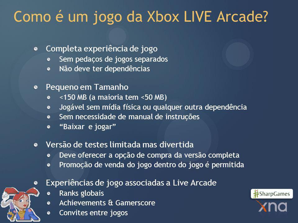 Como é um jogo da Xbox LIVE Arcade.