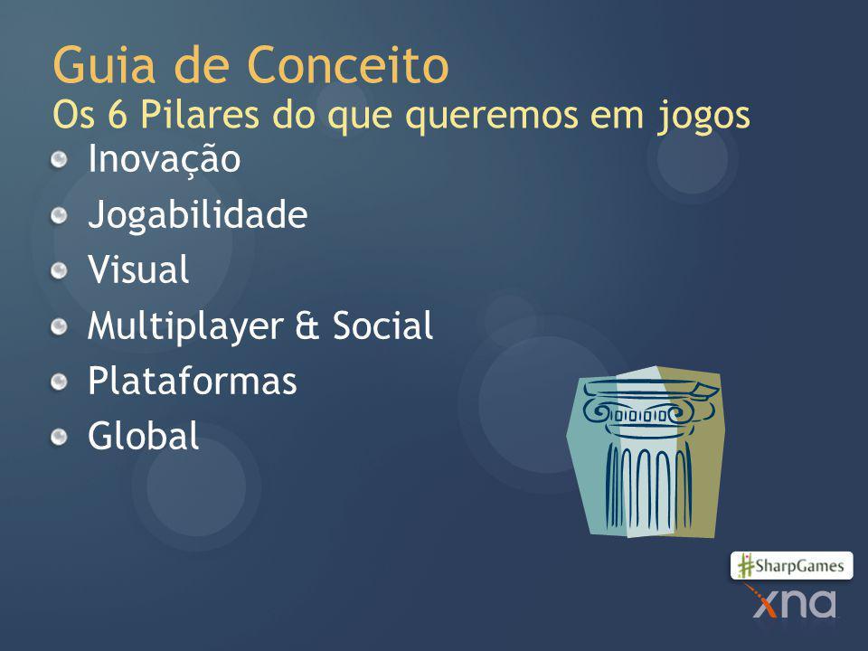 Guia de Conceito Os 6 Pilares do que queremos em jogos Inovação Jogabilidade Visual Multiplayer & Social Plataformas Global
