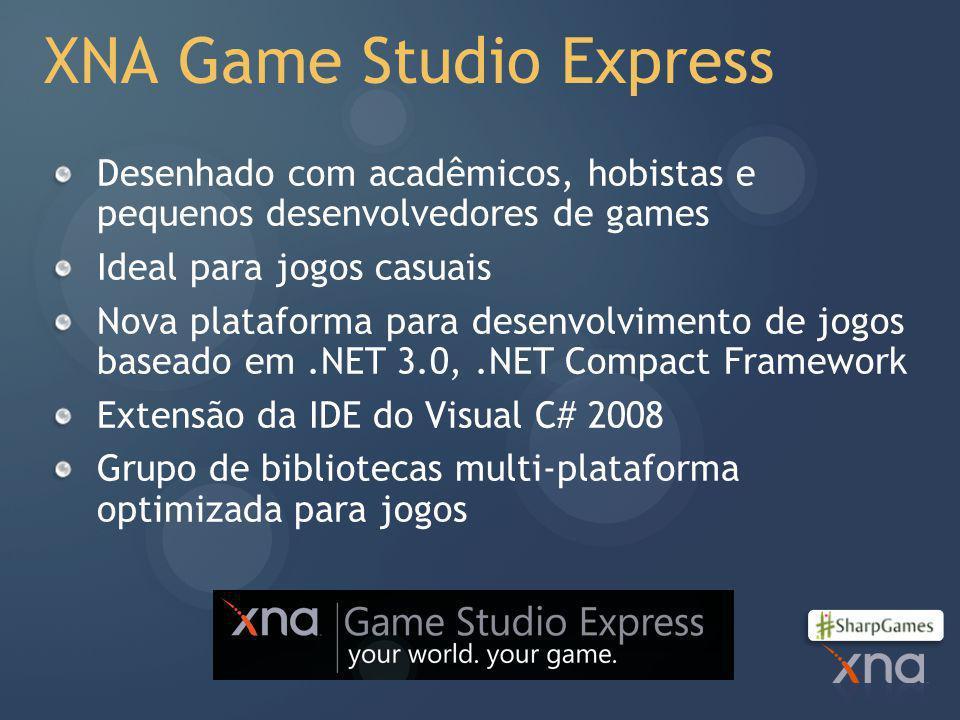 XNA Game Studio Express Desenhado com acadêmicos, hobistas e pequenos desenvolvedores de games Ideal para jogos casuais Nova plataforma para desenvolvimento de jogos baseado em.NET 3.0,.NET Compact Framework Extensão da IDE do Visual C# 2008 Grupo de bibliotecas multi-plataforma optimizada para jogos