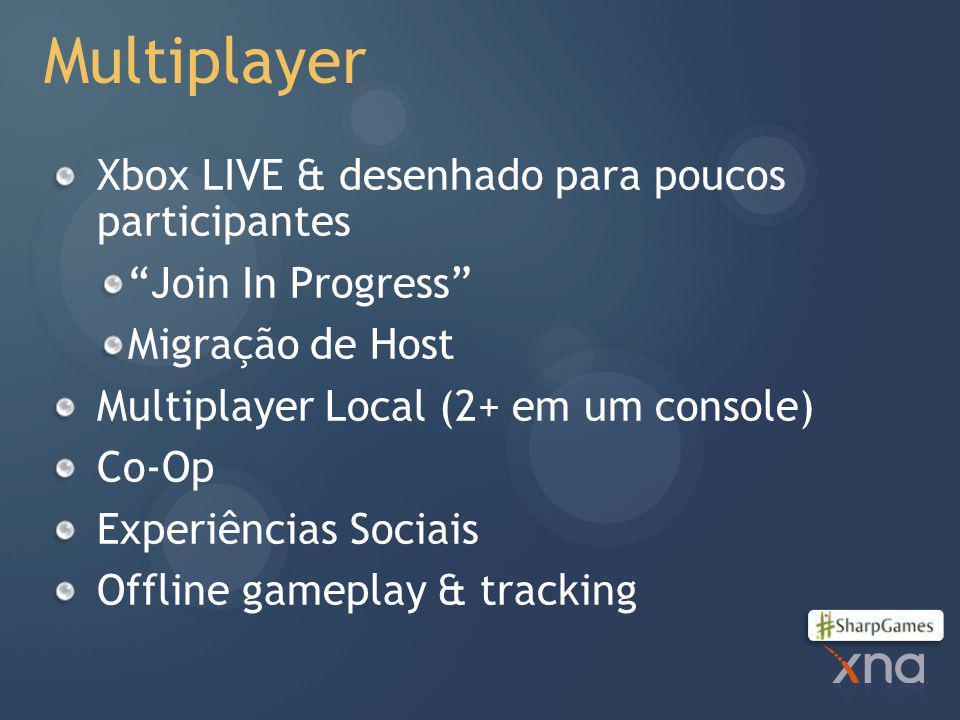 Multiplayer Xbox LIVE & desenhado para poucos participantes Join In Progress Migração de Host Multiplayer Local (2+ em um console) Co-Op Experiências Sociais Offline gameplay & tracking