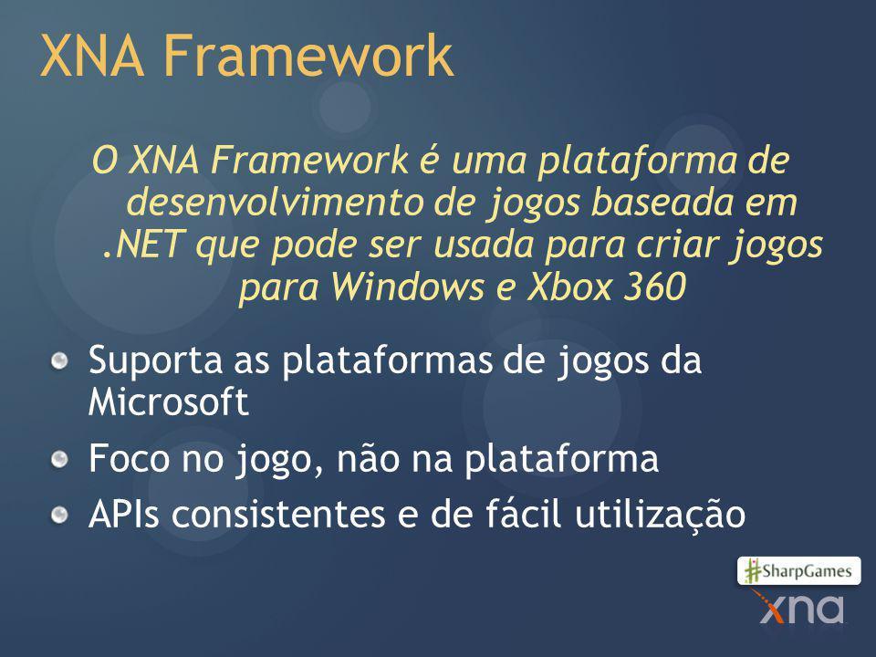 XNA Framework O XNA Framework é uma plataforma de desenvolvimento de jogos baseada em.NET que pode ser usada para criar jogos para Windows e Xbox 360 Suporta as plataformas de jogos da Microsoft Foco no jogo, não na plataforma APIs consistentes e de fácil utilização
