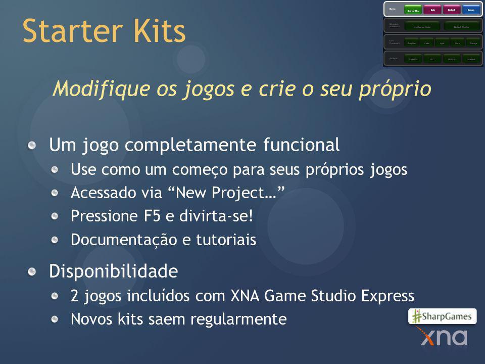 Starter Kits Modifique os jogos e crie o seu próprio Um jogo completamente funcional Use como um começo para seus próprios jogos Acessado via New Project… Pressione F5 e divirta-se.