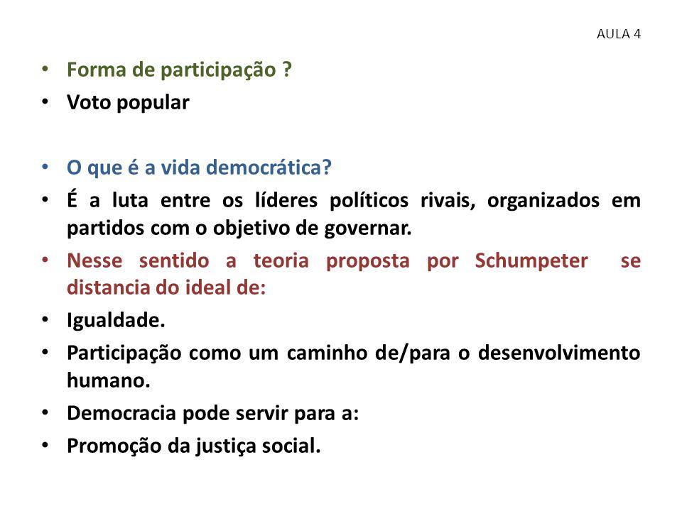 • Forma de participação ? • Voto popular • O que é a vida democrática? • É a luta entre os líderes políticos rivais, organizados em partidos com o obj