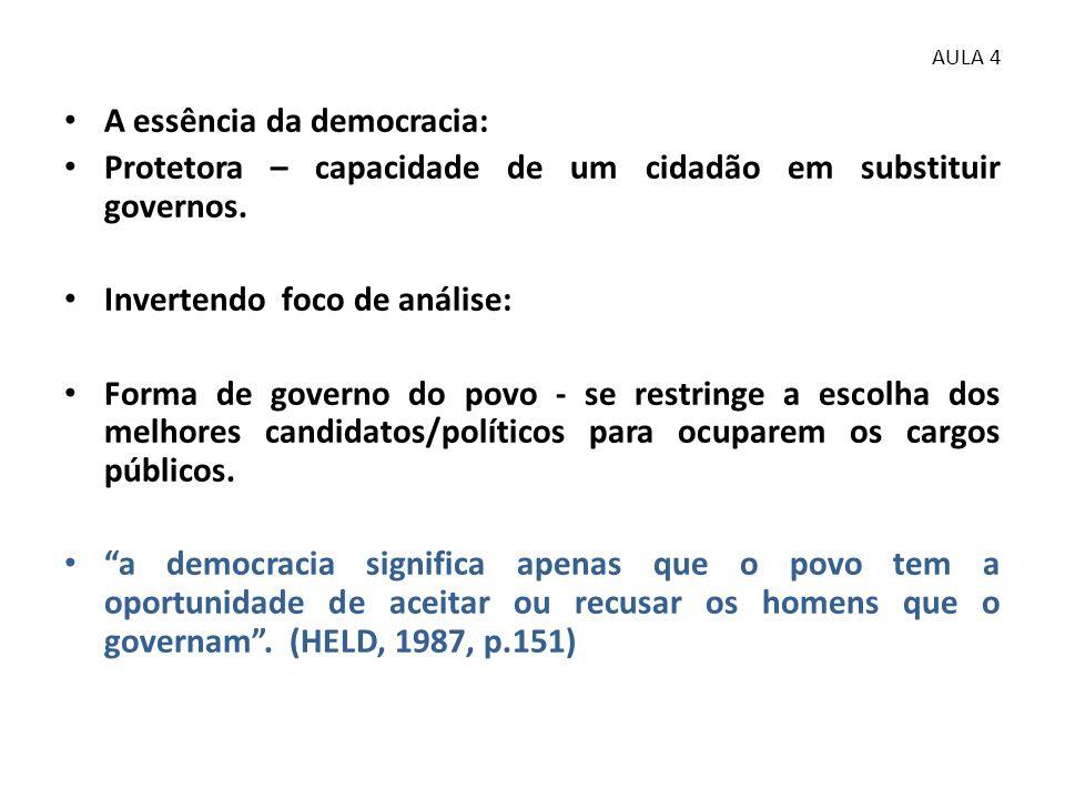• A essência da democracia: • Protetora – capacidade de um cidadão em substituir governos. • Invertendo foco de análise: • Forma de governo do povo -