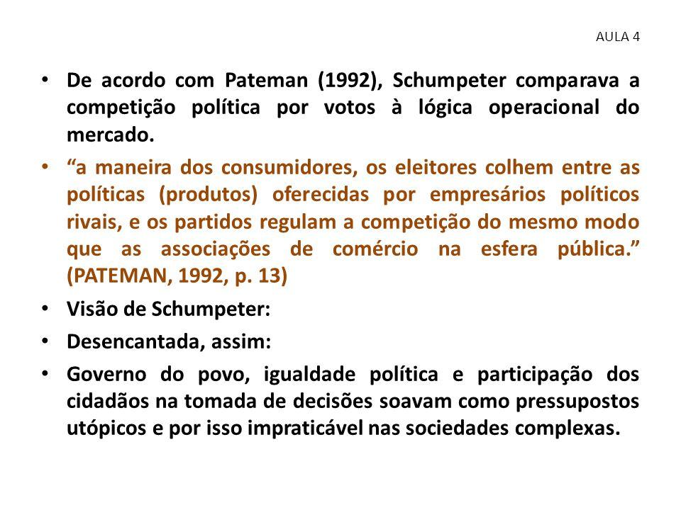 """• De acordo com Pateman (1992), Schumpeter comparava a competição política por votos à lógica operacional do mercado. • """"a maneira dos consumidores, o"""