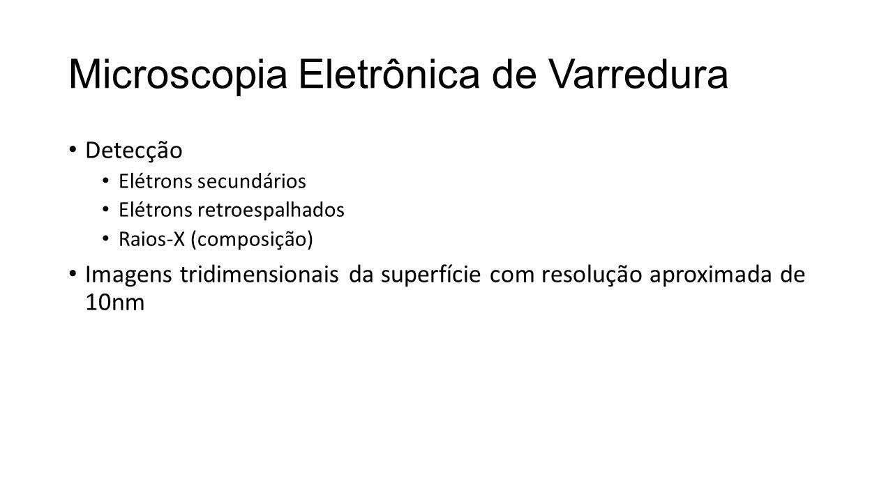 Microscopia Eletrônica de Varredura • Detecção • Elétrons secundários • Elétrons retroespalhados • Raios-X (composição) • Imagens tridimensionais da superfície com resolução aproximada de 10nm