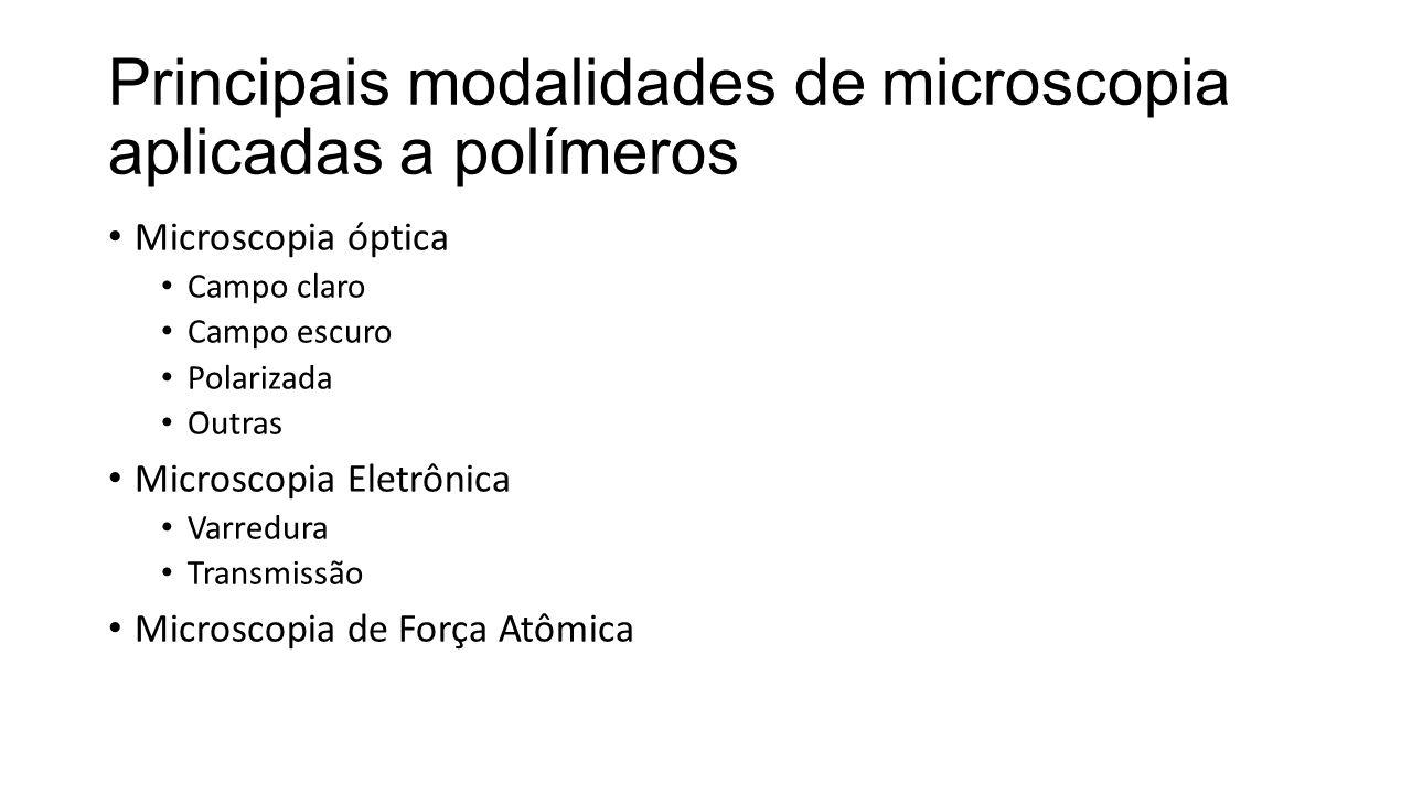 Principais modalidades de microscopia aplicadas a polímeros • Microscopia óptica • Campo claro • Campo escuro • Polarizada • Outras • Microscopia Eletrônica • Varredura • Transmissão • Microscopia de Força Atômica