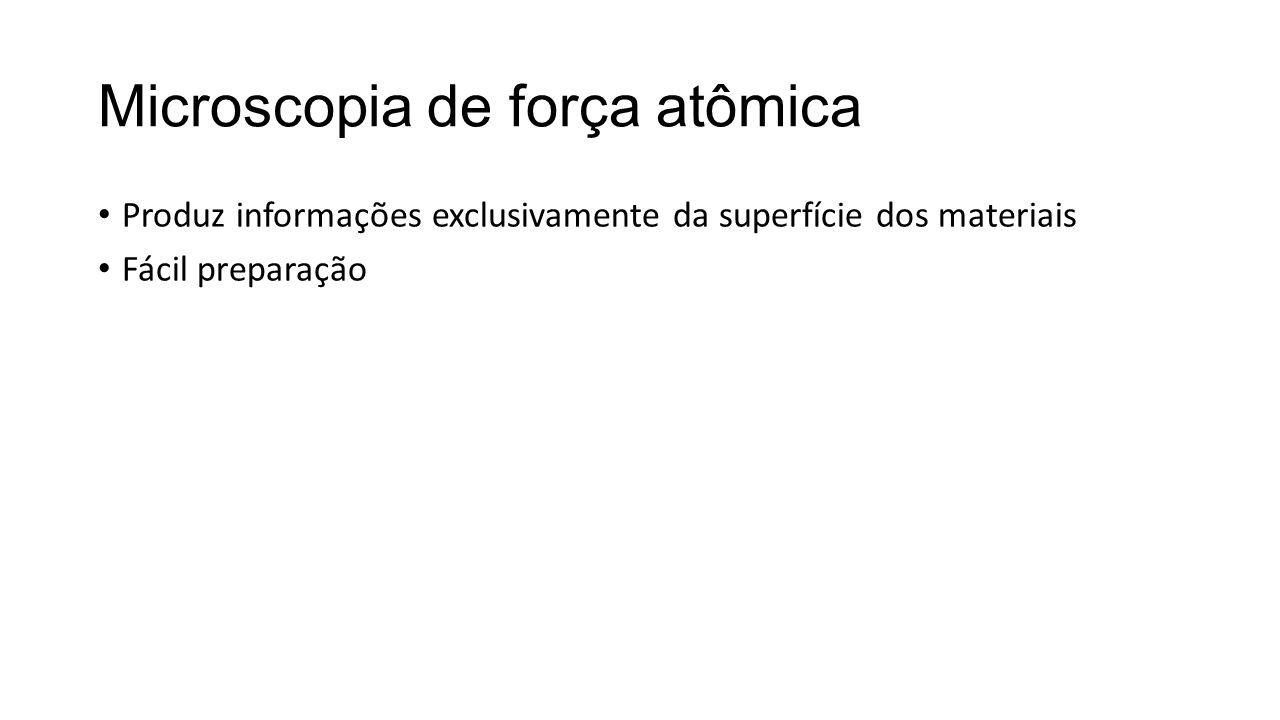 Microscopia de força atômica • Produz informações exclusivamente da superfície dos materiais • Fácil preparação