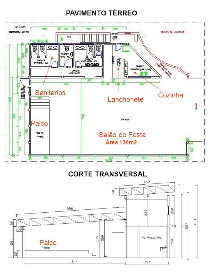 PAVIMENTO TÉRREO CORTE TRANSVERSAL Salão de Festa Palco Cozinha Lanchonete Palco Sanitários Área 139m2