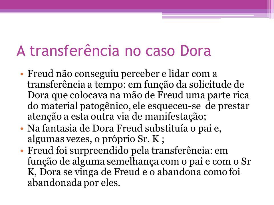 A transferência no caso Dora •Freud não conseguiu perceber e lidar com a transferência a tempo: em função da solicitude de Dora que colocava na mão de