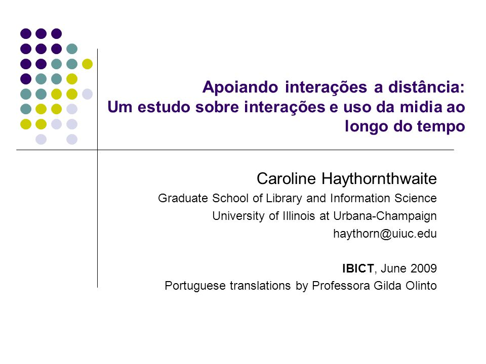 The Social Informatics of Elearning Lectures at IBICT, June 2009  These powerpoint slides accompanied one of series of lectures given in June 2009 at IBICT, Instituto Brasileiro de Informação em Ciência e Tecnologia (The Brazilian Institute for Information in Science and Technology), Rio de Janeiro, where Professor Caroline Haythornthwaite was a guest of the institute.