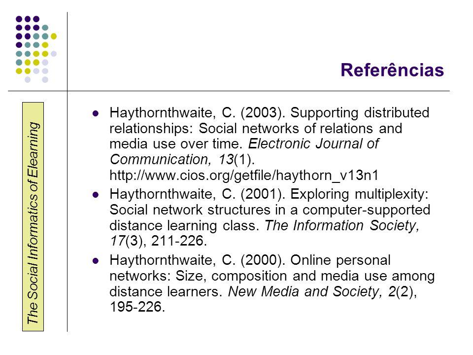 The Social Informatics of Elearning Referências  Haythornthwaite, C.