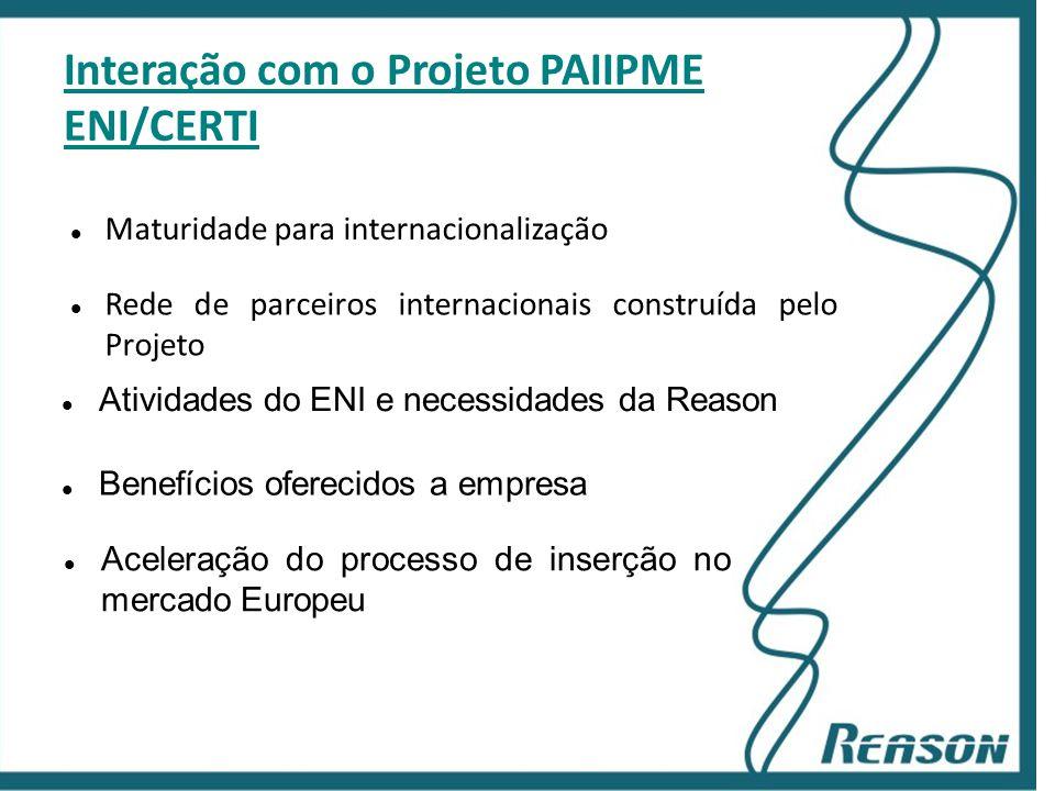 Slide 12 Interação com o Projeto PAIIPME ENI/CERTI  Rede de parceiros internacionais construída pelo Projeto  Atividades do ENI e necessidades da Re