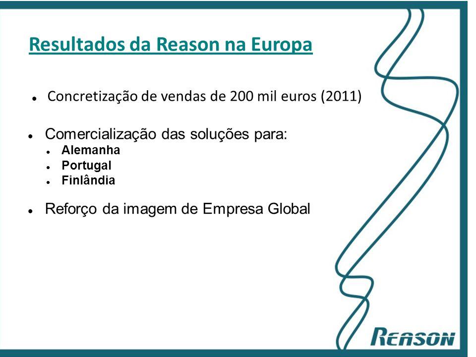 Slide 14 Resultados da Reason na Europa  Concretização de vendas de 200 mil euros (2011)  Comercialização das soluções para:  Alemanha  Portugal 