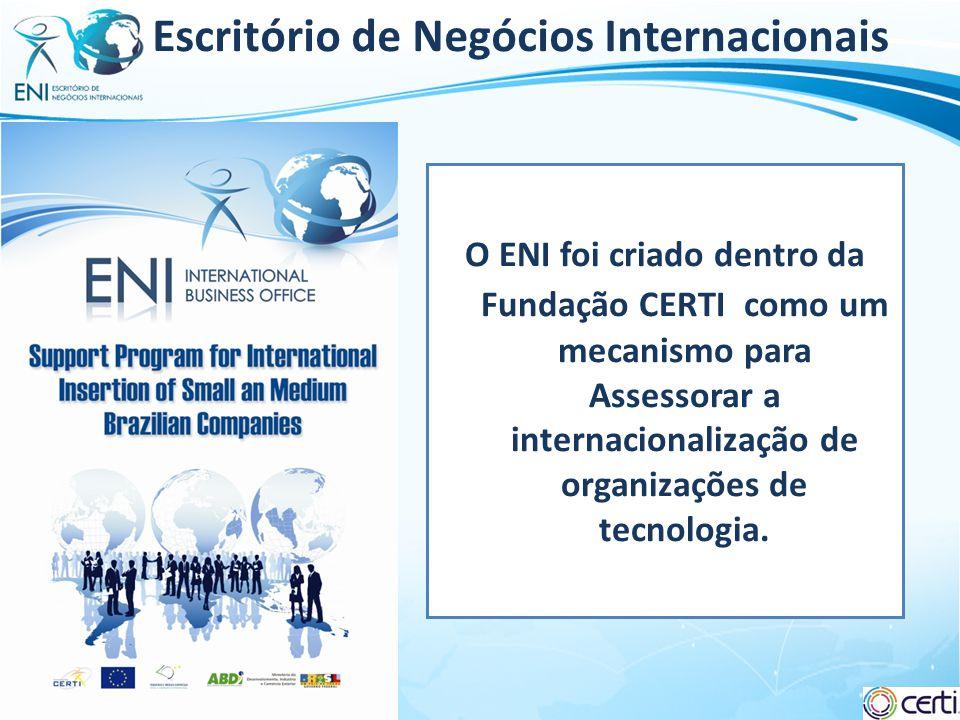Slide 2 Escritório de Negócios Internacionais O ENI foi criado dentro da Fundação CERTI como um mecanismo para Assessorar a internacionalização de org