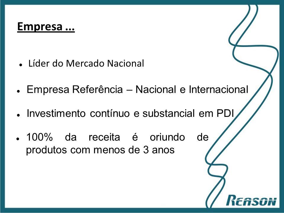 Slide 8 Empresa...  Líder do Mercado Nacional  Empresa Referência – Nacional e Internacional  Investimento contínuo e substancial em PDI  100% da