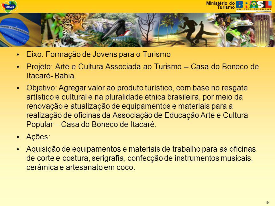 Ministério do Turismo 19 • Eixo: Formação de Jovens para o Turismo • Projeto: Arte e Cultura Associada ao Turismo – Casa do Boneco de Itacaré- Bahia.