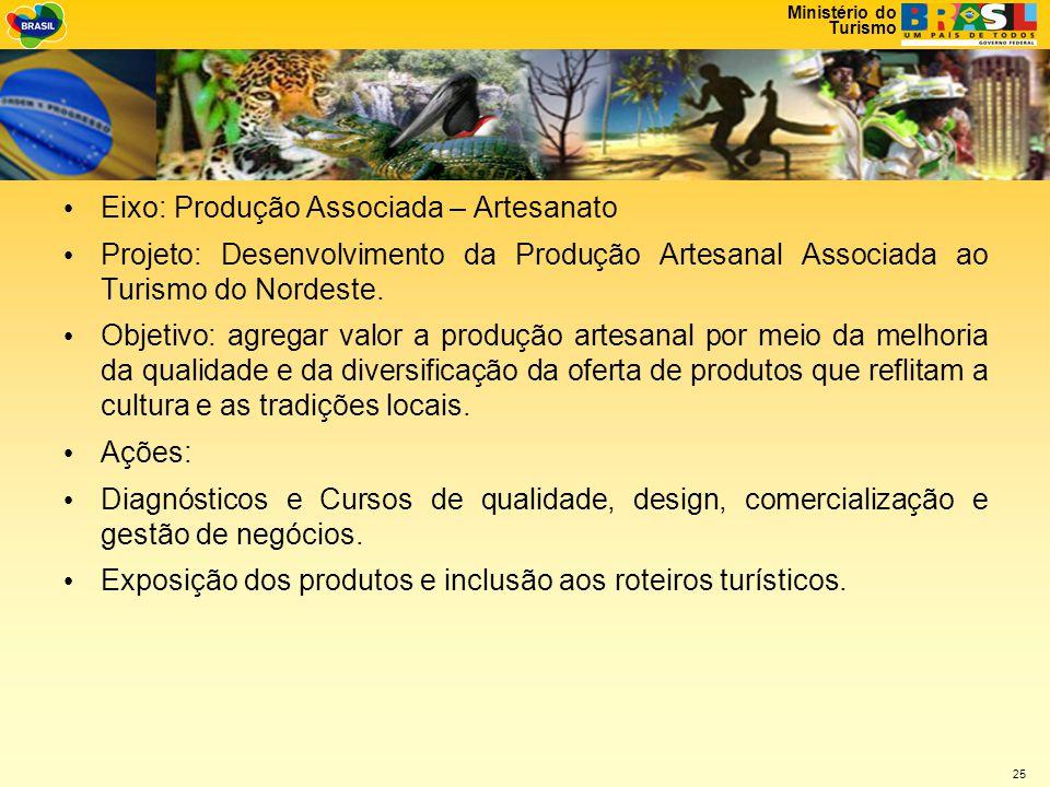 Ministério do Turismo 25 • Eixo: Produção Associada – Artesanato • Projeto: Desenvolvimento da Produção Artesanal Associada ao Turismo do Nordeste.