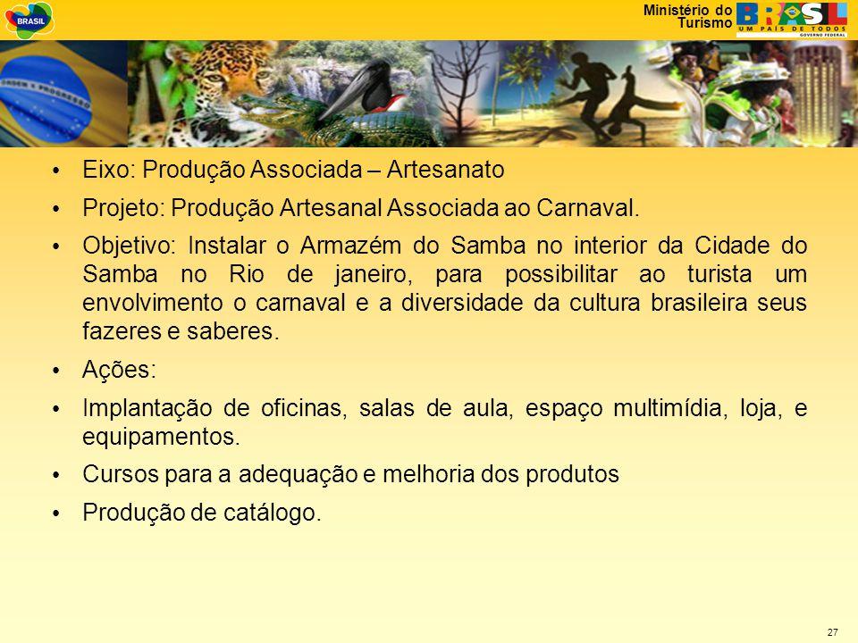 Ministério do Turismo 27 • Eixo: Produção Associada – Artesanato • Projeto: Produção Artesanal Associada ao Carnaval.