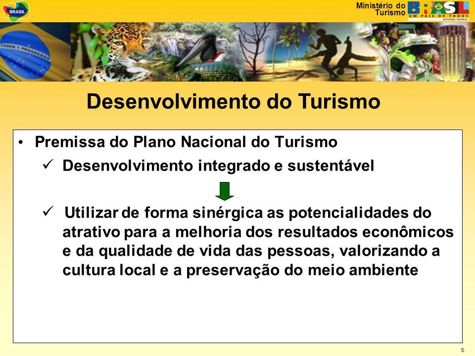 Ministério do Turismo 5 • Premissa do Plano Nacional do Turismo  Desenvolvimento integrado e sustentável  Utilizar de forma sinérgica as potencialidades do atrativo para a melhoria dos resultados econômicos e da qualidade de vida das pessoas, valorizando a cultura local e a preservação do meio ambiente Desenvolvimento do Turismo