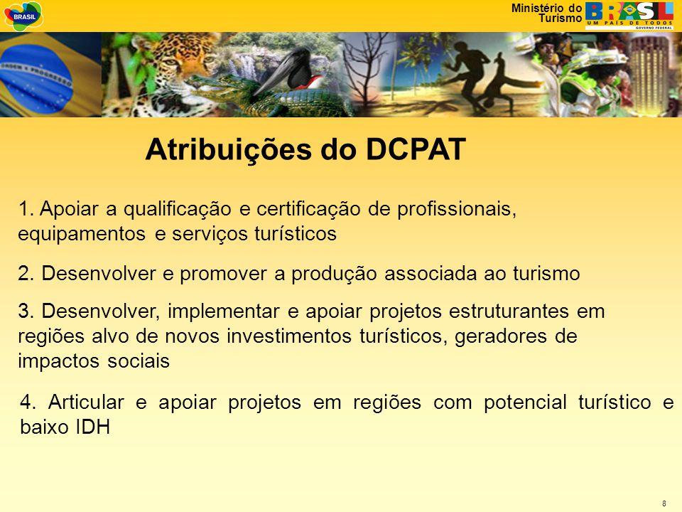 Ministério do Turismo 8 Atribuições do DCPAT 1.