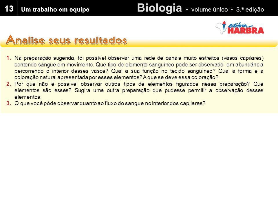 Biologia • volume único • 3.ª edição 13 1.Na preparação sugerida, foi possível observar uma rede de canais muito estreitos (vasos capilares) contendo