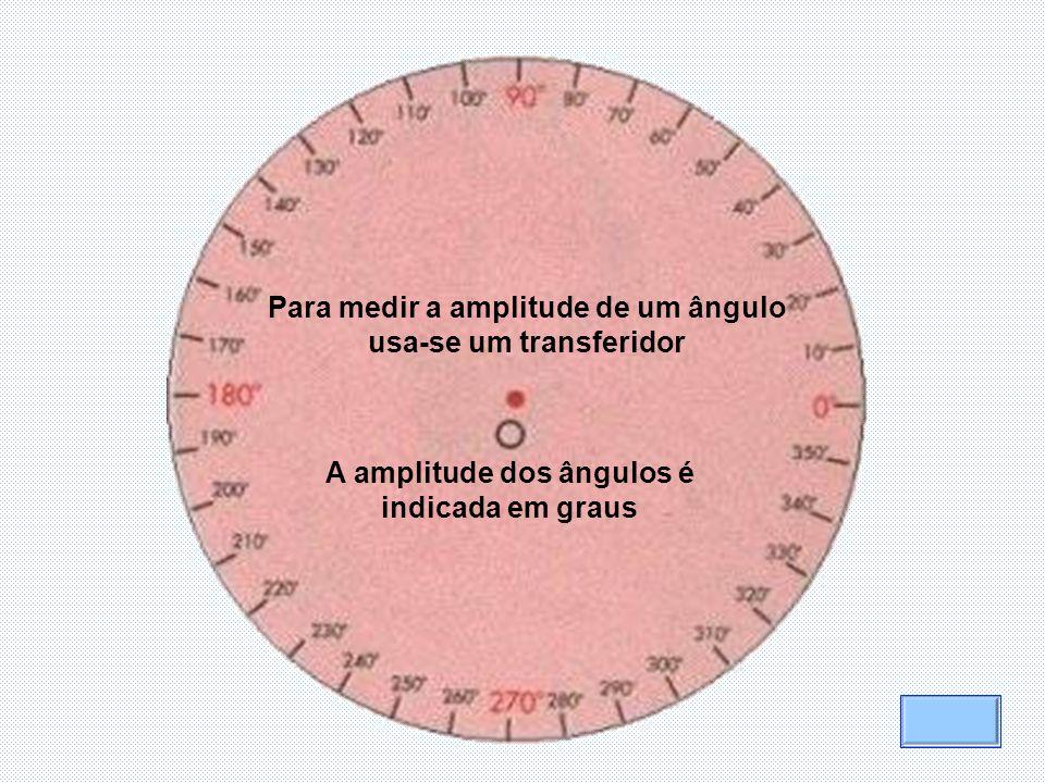 Para medir a amplitude de um ângulo usa-se um transferidor A amplitude dos ângulos é indicada em graus