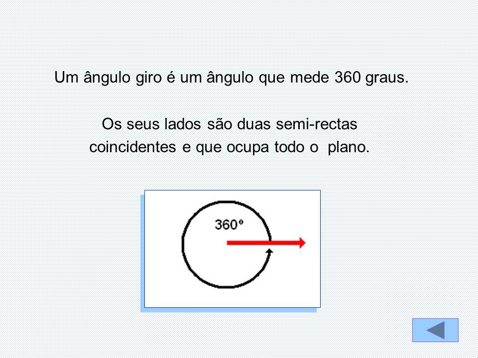 Os seus lados são duas semi-rectas coincidentes e que ocupa todo o plano. Um ângulo giro é um ângulo que mede 360 graus.