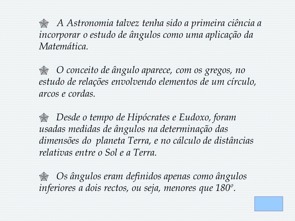  A Astronomia talvez tenha sido a primeira ciência a incorporar o estudo de ângulos como uma aplicação da Matemática.  O conceito de ângulo aparece,