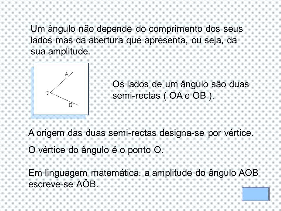 Um ângulo não depende do comprimento dos seus lados mas da abertura que apresenta, ou seja, da sua amplitude. Os lados de um ângulo são duas semi-rect