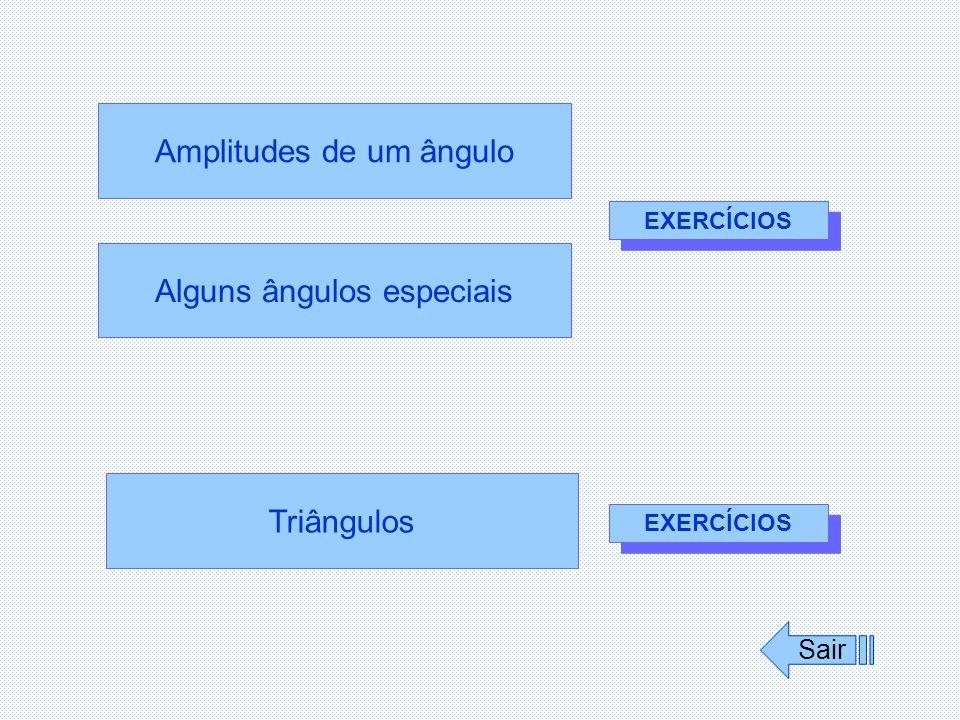 Alguns ângulos especiais Amplitudes de um ângulo Triângulos Sair EXERCÍCIOS