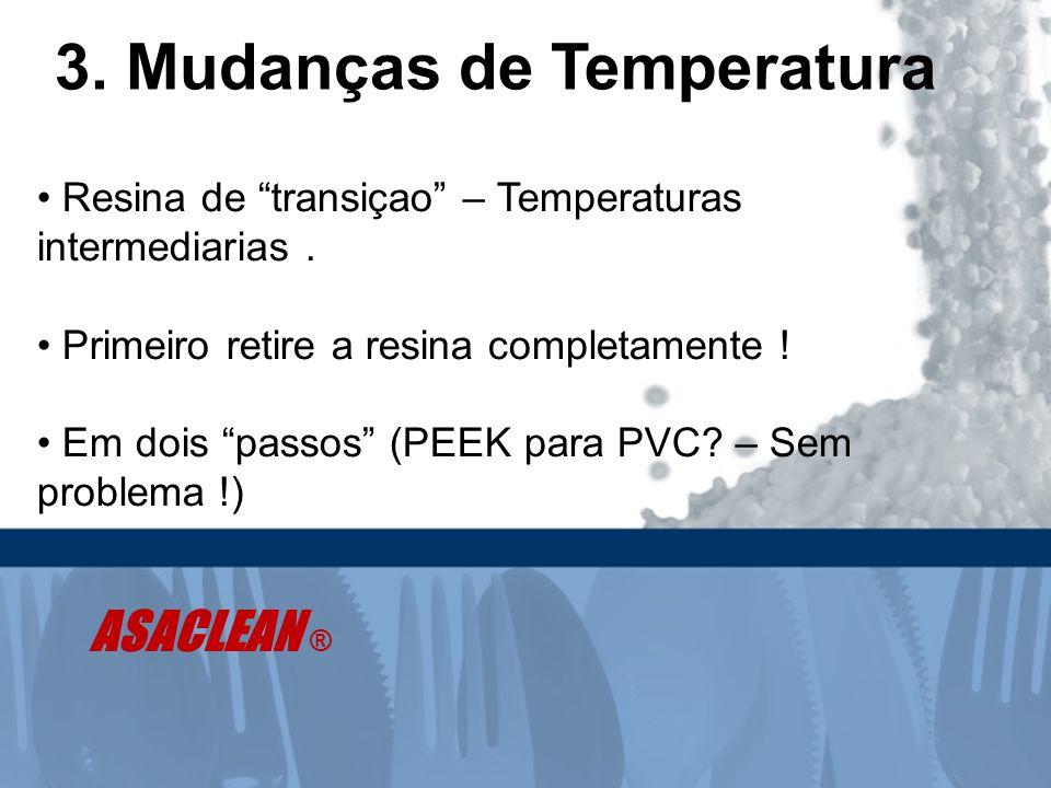 """3. Mudanças de Temperatura • Resina de """"transiçao"""" – Temperaturas intermediarias. • Primeiro retire a resina completamente ! • Em dois """"passos"""" (PEEK"""