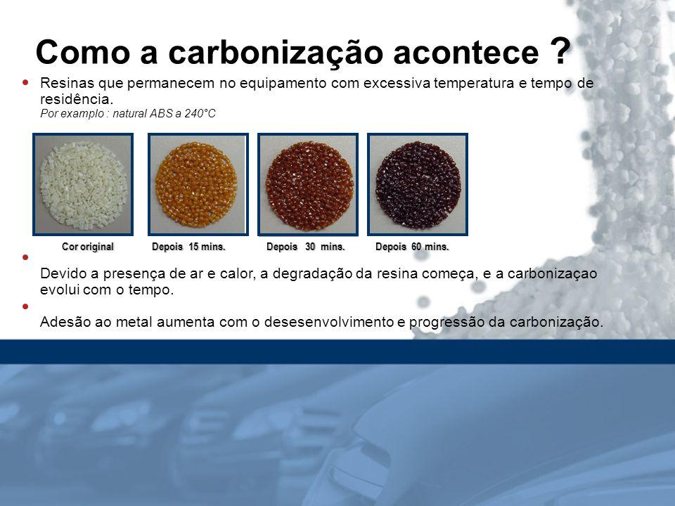 Como a carbonização acontece ? Resinas que permanecem no equipamento com excessiva temperatura e tempo de residência. Por examplo : natural ABS a 240°
