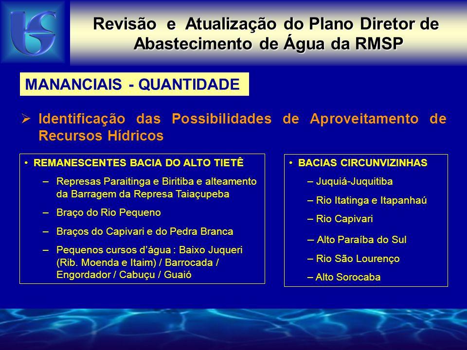 Revisão e Atualização do Plano Diretor de Abastecimento de Água da RMSP MANANCIAIS - QUANTIDADE  Identificação das Possibilidades de Aproveitamento d