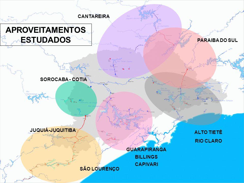 CANTAREIRA SOROCABA - COTIA GUARAPIRANGA BILLINGS CAPIVARI ALTO TIETÊ RIO CLARO PARAIBA DO SUL SÃO LOURENÇO JUQUIÁ-JUQUITIBA APROVEITAMENTOS ESTUDADOS