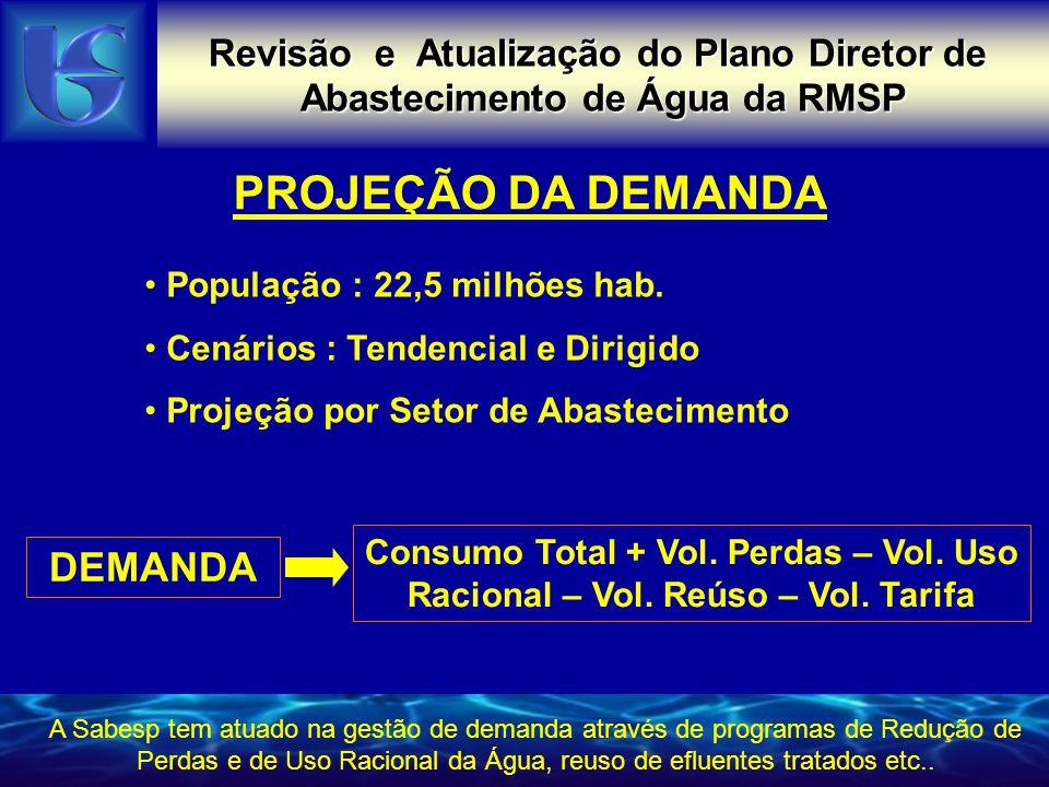 Revisão e Atualização do Plano Diretor de Abastecimento de Água da RMSP PROJEÇÃO DA DEMANDA • População : 22,5 milhões hab. • Cenários : Tendencial e