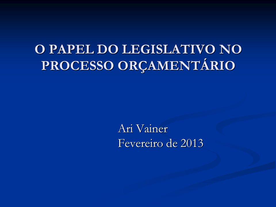 O PAPEL DO LEGISLATIVO NO PROCESSO ORÇAMENTÁRIO Ari Vainer Ari Vainer Fevereiro de 2013 Fevereiro de 2013