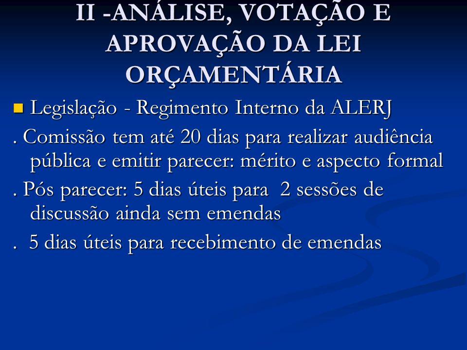 II -ANÁLISE, VOTAÇÃO E APROVAÇÃO DA LEI ORÇAMENTÁRIA  Legislação - Regimento Interno da ALERJ. Comissão tem até 20 dias para realizar audiência públi