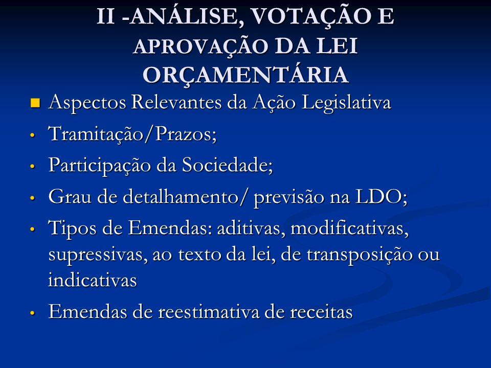 II -ANÁLISE, VOTAÇÃO E APROVAÇÃO DA LEI ORÇAMENTÁRIA  Aspectos Relevantes da Ação Legislativa • Tramitação/Prazos; • Participação da Sociedade; • Gra