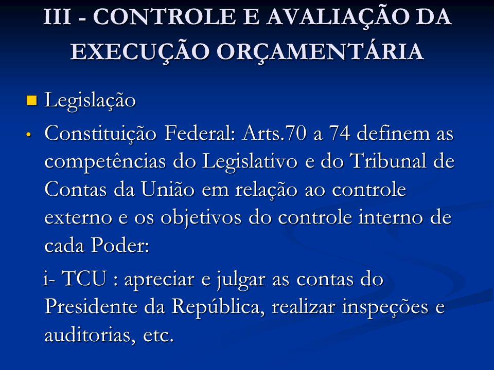 III - CONTROLE E AVALIAÇÃO DA EXECUÇÃO ORÇAMENTÁRIA  Legislação • Constituição Federal: Arts.70 a 74 definem as competências do Legislativo e do Trib